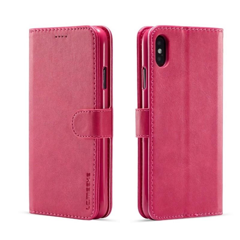 Луксозен кожен флип калъф/тип тефтер за iPhone XS, LC.IMEEKE, Розов