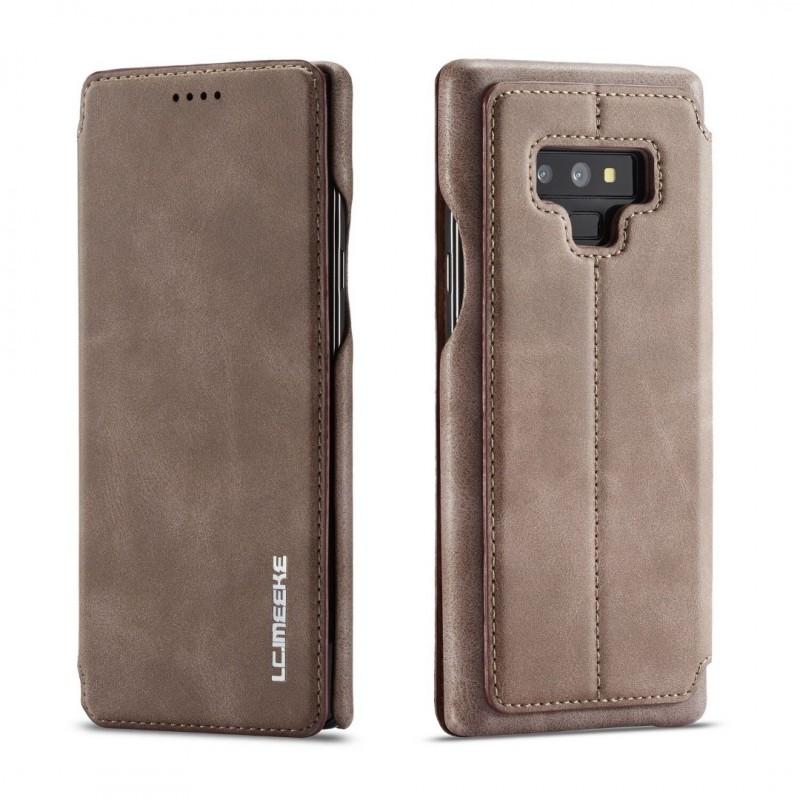 360° Кожен флип кейс/калъф за Samsung Galaxy Note 9, LC.IMEEKE, Магнитно Затваряне, Кафяв