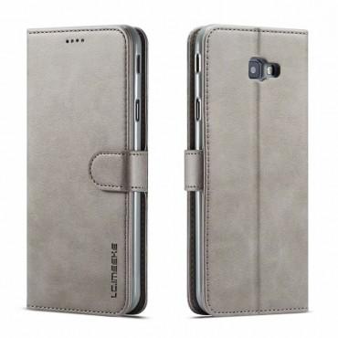 Луксозен кожен флип калъф/тип тефтер за Samsung Galaxy  J4 Plus (2018), LC.IMEEKE, Сив
