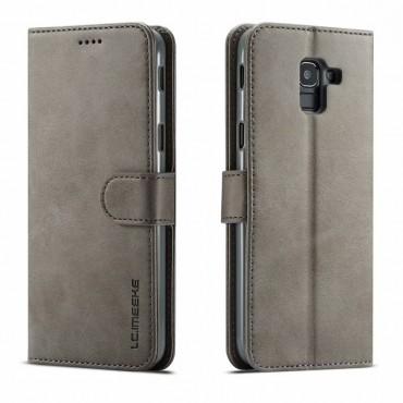 Луксозен кожен флип калъф/тип тефтер за Samsung Galaxy J6 (2018), LC.IMEEKE, Сив
