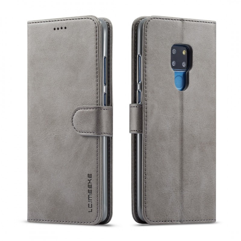 Луксозен кожен флип калъф/тип тефтер за Huawei Mate 20, LC.IMEEKE, Сив