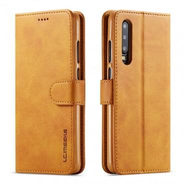 Луксозен кожен флип калъф/тип тефтер за Huawei P30, LC.IMEEKE, Светлокафяв