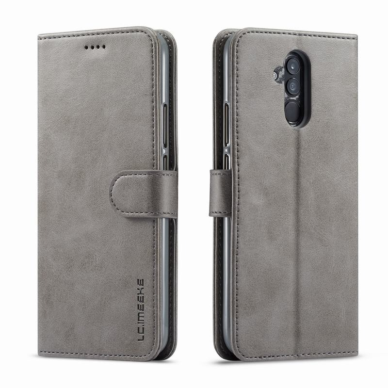 Луксозен кожен флип калъф/тип тефтер за Huawei Mate 20 Lite, LC.IMEEKE, Сив