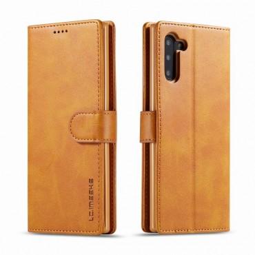 Луксозен кожен флип калъф/тип тефтер за Samsung Galaxy Note 10, LC.IMEEKE, Светлокафяв