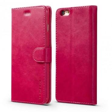 Луксозен кожен флип калъф/тип тефтер за iPhone 7, LC.IMEEKE, Розов