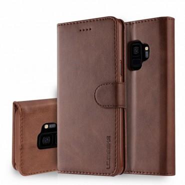 Луксозен кожен флип калъф/тип тефтер за Samsung Galaxy S9, LC.IMEEKE, Тъмнокафяв