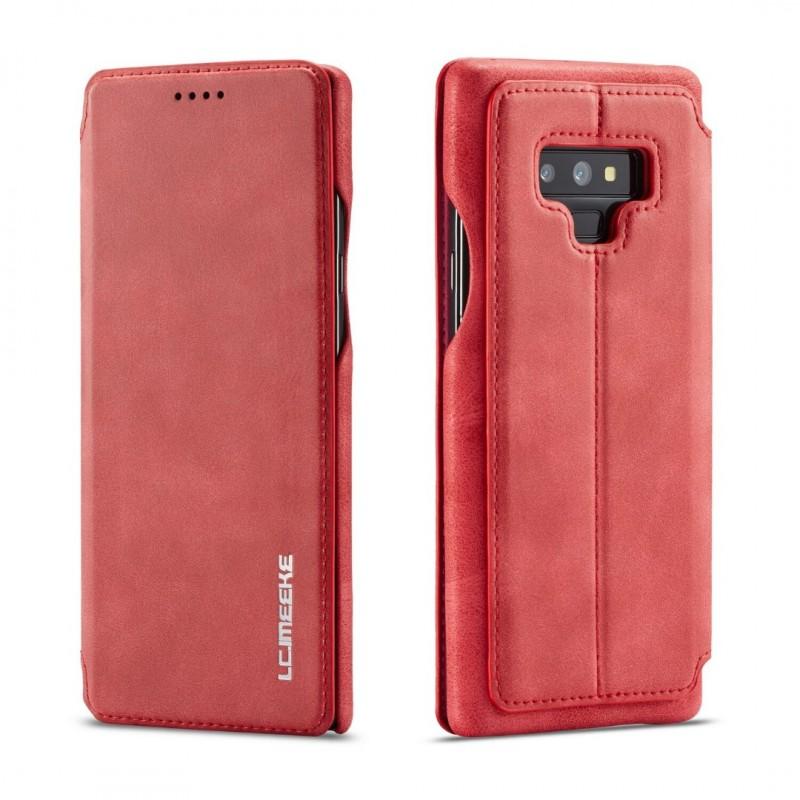 360° Кожен флип кейс/калъф за Samsung Galaxy Note 9, LC.IMEEKE, Магнитно Затваряне, Червен