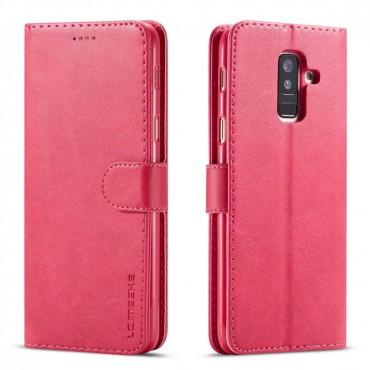 Луксозен кожен флип калъф/тип тефтер за Samsung Galaxy A6 Plus (2018), LC.IMEEKE, Розов