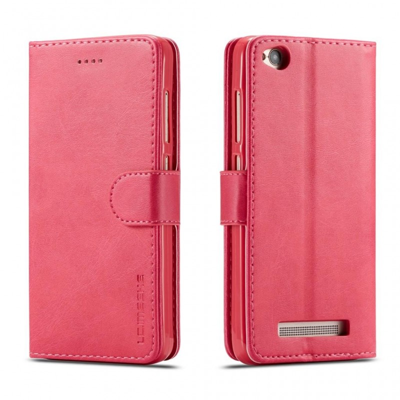 Луксозен кожен флип калъф/тип тефтер за Xiaomi Redmi 4A, LC.IMEEKE, Розов