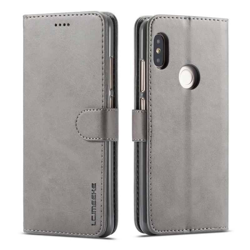 Луксозен кожен флип калъф/тип тефтер за Xiaomi Redmi Note 5 Pro, LC.IMEEKE, Сив
