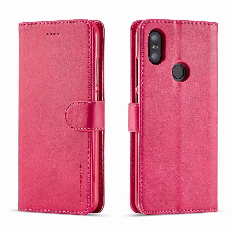 Луксозен кожен флип калъф/тип тефтер за Xiaomi Redmi 6 Pro, LC.IMEEKE, Розов