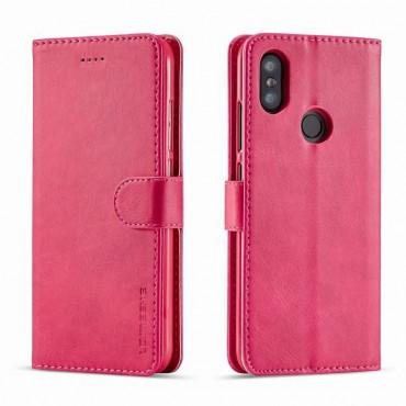 Луксозен кожен флип калъф/тип тефтер за Xiaomi Redmi Note 6 Pro, LC.IMEEKE, Розов