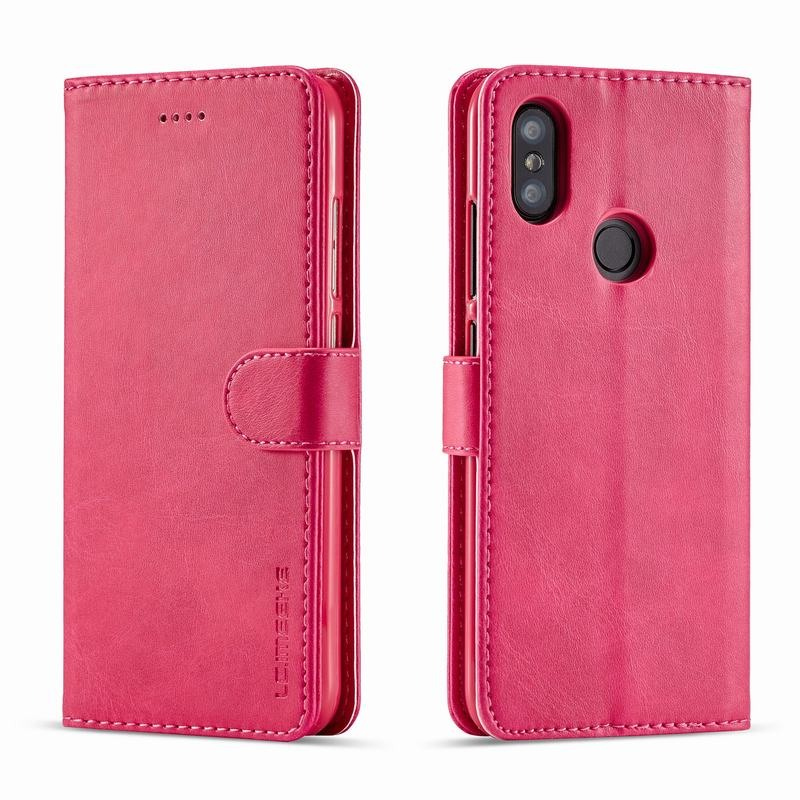 Луксозен кожен флип калъф/тип тефтер за Xiaomi Mi A2 Lite, LC.IMEEKE, Розов