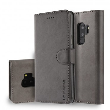 Луксозен кожен флип калъф/тип тефтер за Samsung Galaxy S9 Plus, LC.IMEEKE, Сив