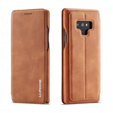 360° Кожен флип кейс/калъф за Samsung Galaxy Note 9, LC.IMEEKE, Магнитно Затваряне, Светлокафяв