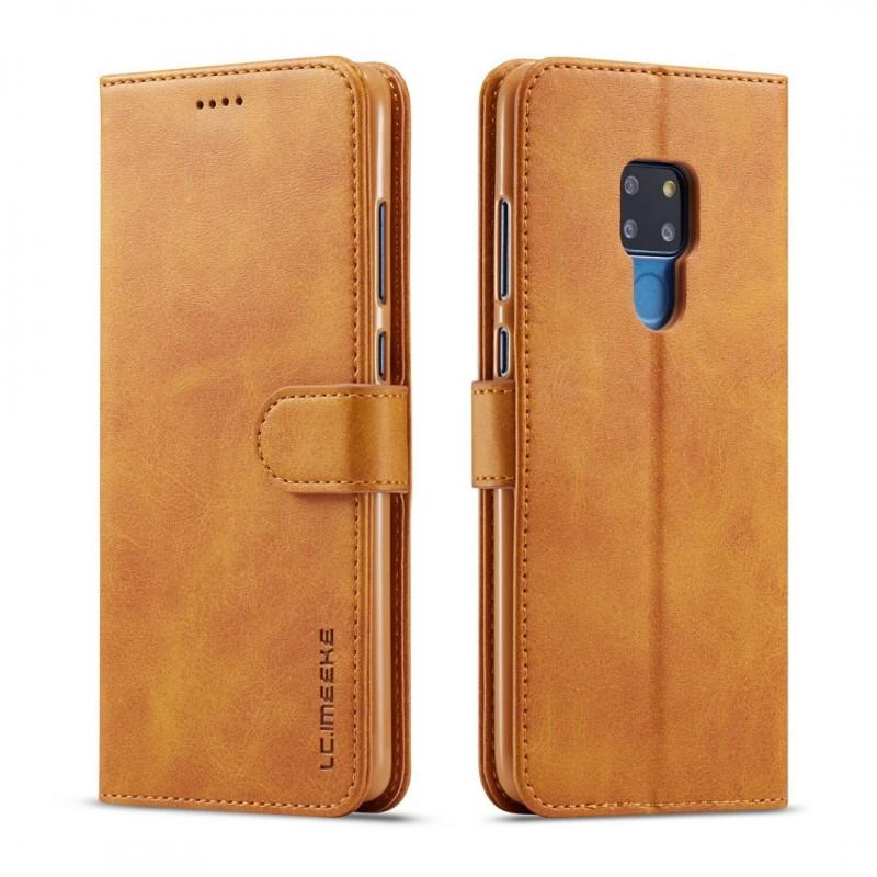 Луксозен кожен флип калъф/тип тефтер за Huawei Mate 20, LC.IMEEKE, Светлокафяв
