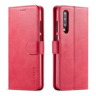 Луксозен кожен флип калъф/тип тефтер за Huawei P30, LC.IMEEKE, Розов