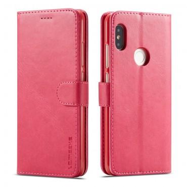 Луксозен кожен флип калъф/тип тефтер за Xiaomi Redmi Note 5 Pro, LC.IMEEKE, Розов