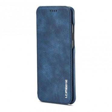 360° Кожен флип кейс/калъф за Samsung Galaxy S9 Plus, LC.IMEEKE, Магнитно Затваряне, Син