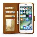 Луксозен кожен флип калъф/тип тефтер за iPhone 8, LC.IMEEKE, Светлокафяв