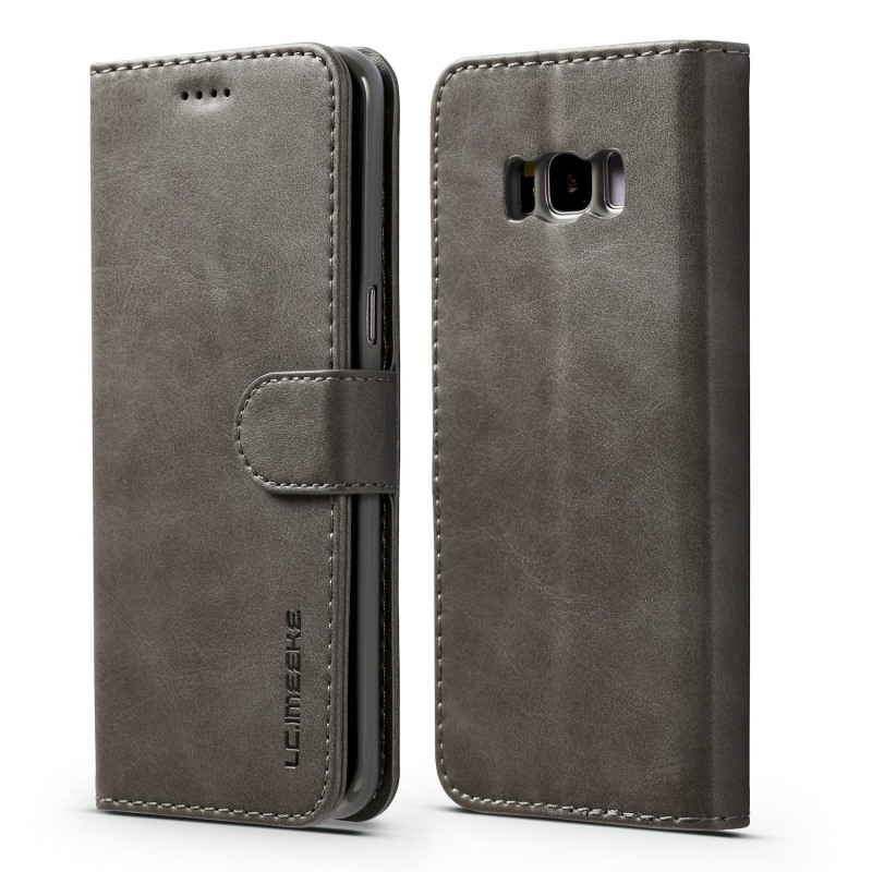 Луксозен кожен флип калъф/тип тефтер за Samsung Galaxy S8 Plus, LC.IMEEKE, Сив