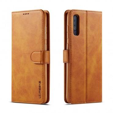 Луксозен кожен флип калъф/тип тефтер за Samsung Galaxy A50, LC.IMEEKE, Светлокафяв