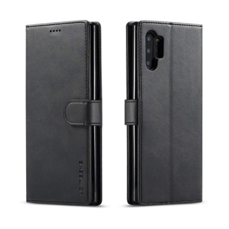 Луксозен кожен флип калъф/тип тефтер за Samsung Galaxy Note 10 Plus, LC.IMEEKE, Черен
