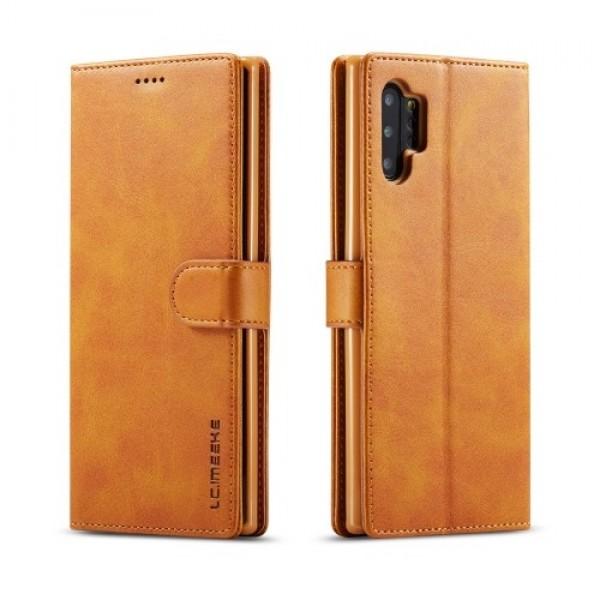 Луксозен кожен флип калъф/тип тефтер за Samsung Galaxy Note 10 Plus, LC.IMEEKE, Светлокафяв