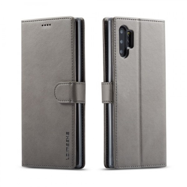 Луксозен кожен флип калъф/тип тефтер за Samsung Galaxy Note 10 Plus, LC.IMEEKE, Сив