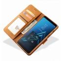Луксозен кожен флип калъф/тип тефтер за Samsung Galaxy A6 (2018), LC.IMEEKE, Светлокафяв