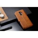 Луксозен кожен флип калъф/тип тефтер за Samsung Galaxy A6 Plus (2018), LC.IMEEKE, Светлокафяв