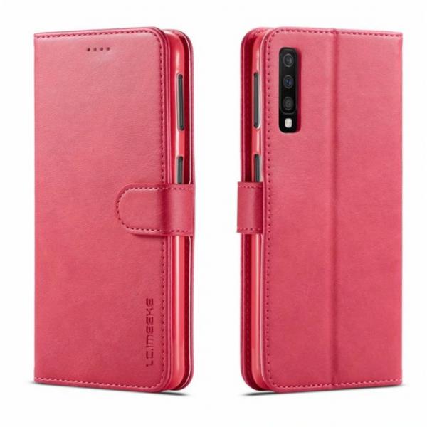 Луксозен кожен флип калъф/тип тефтер за Samsung Galaxy A7 (2018), LC.IMEEKE, Розов