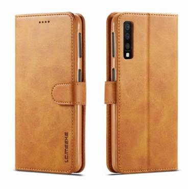 Луксозен кожен флип калъф/тип тефтер за Samsung Galaxy A7 (2018), LC.IMEEKE, Светлокафяв