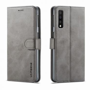 Луксозен кожен флип калъф/тип тефтер за Samsung Galaxy A7 (2018), LC.IMEEKE, Сив