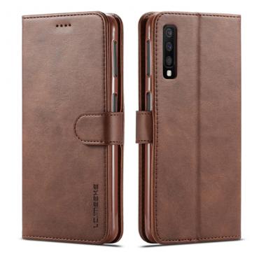 Луксозен кожен флип калъф/тип тефтер за Samsung Galaxy A7 (2018), LC.IMEEKE, Тъмнокафяв