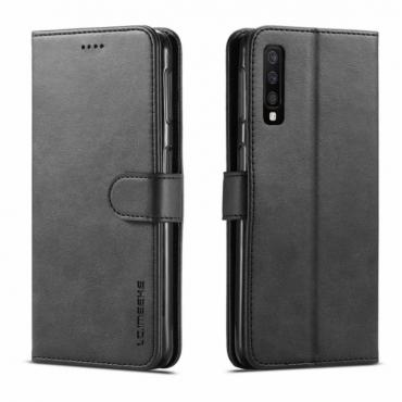 Луксозен кожен флип калъф/тип тефтер за Samsung Galaxy A7 (2018), LC.IMEEKE, Черен