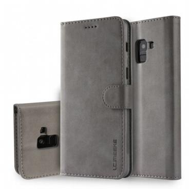 Луксозен кожен флип калъф/тип тефтер за Samsung Galaxy А8 Plus (2018), LC.IMEEKE, Сив