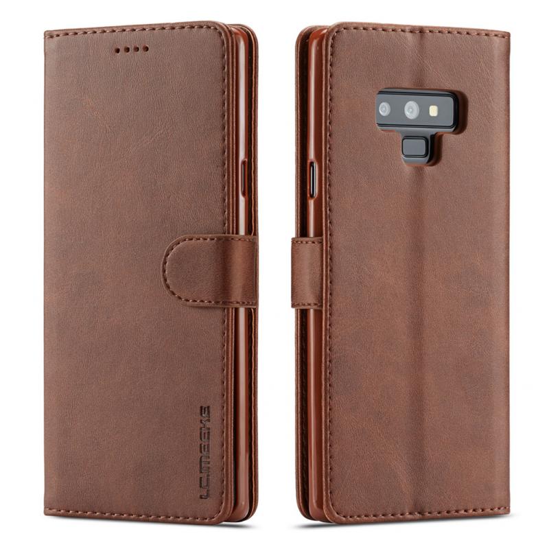 Луксозен кожен флип калъф/тип тефтер за Samsung Galaxy Note 9, LC.IMEEKE, Тъмнокафяв