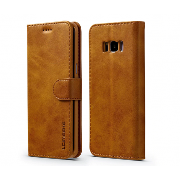 Луксозен кожен флип калъф/тип тефтер за Samsung Galaxy S8 Plus, LC.IMEEKE, Светлокафяв