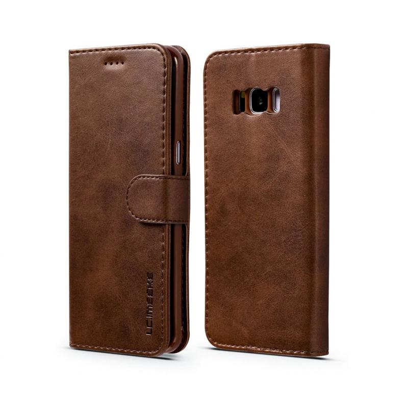 Луксозен кожен флип калъф/тип тефтер за Samsung Galaxy S8 Plus, LC.IMEEKE, Тъмнокафяв