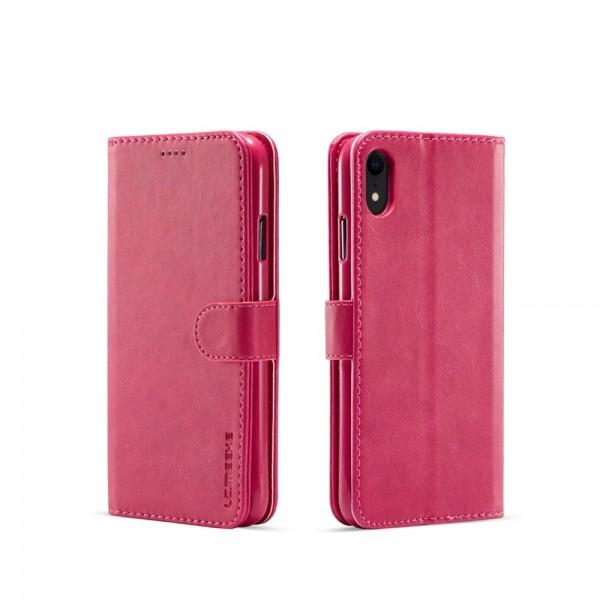 Луксозен кожен флип калъф/тип тефтер за iPhone XR, LC.IMEEKE, Розов