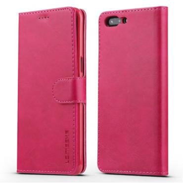 Луксозен кожен флип калъф/тип тефтер за OnePlus 5, LC.IMEEKE, Розов