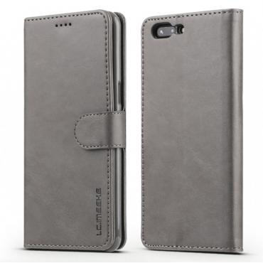 Луксозен кожен флип калъф/тип тефтер за OnePlus 5, LC.IMEEKE, Сив