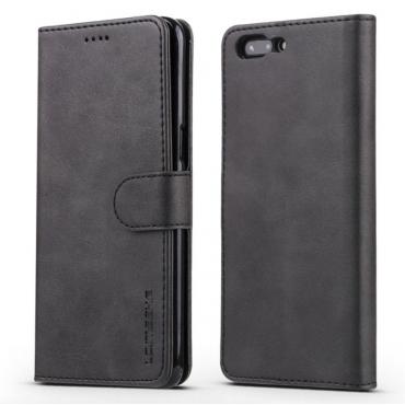 Луксозен кожен флип калъф/тип тефтер за OnePlus 5, LC.IMEEKE, Черен