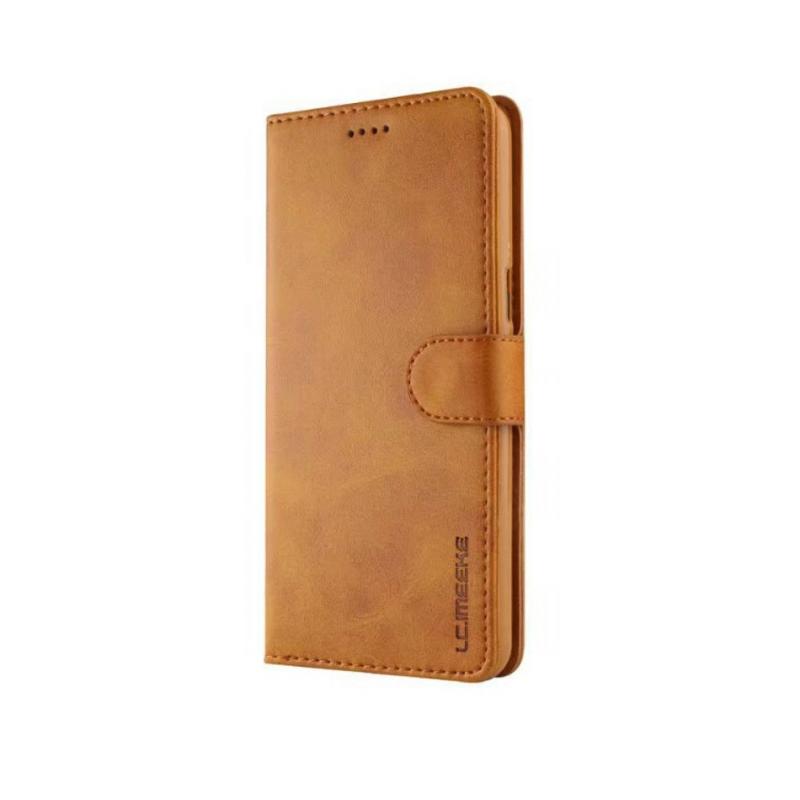 Луксозен кожен флип калъф/тип тефтер за OnePlus 5T, LC.IMEEKE, Светлокафяв