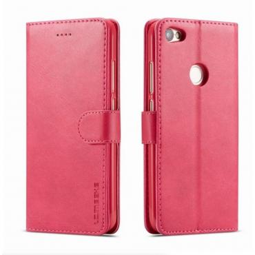Луксозен кожен флип калъф/тип тефтер за Xiaomi Redmi Note 5A, LC.IMEEKE, Розов