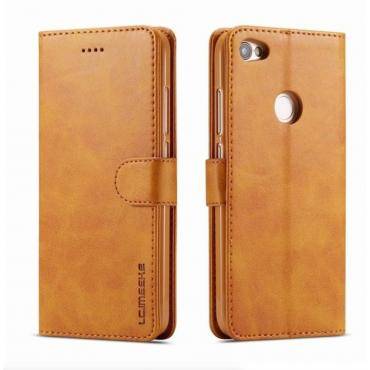Луксозен кожен флип калъф/тип тефтер за Xiaomi Redmi Note 5A, LC.IMEEKE, Светлокафяв