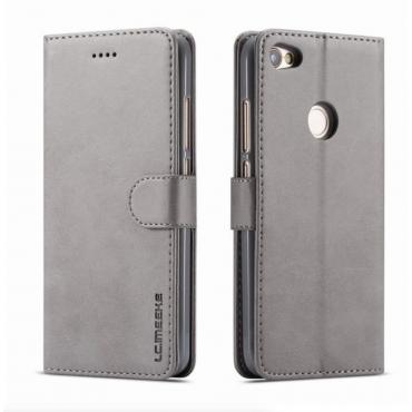 Луксозен кожен флип калъф/тип тефтер за Xiaomi Redmi Note 5A, LC.IMEEKE, Сив