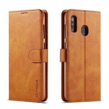 Луксозен кожен флип калъф/тип тефтер за Samsung Galaxy А20, LC.IMEEKE, Светлокафяв
