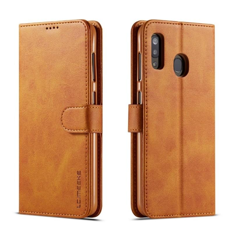 Луксозен кожен флип калъф/тип тефтер за Samsung Galaxy А30, LC.IMEEKE, Светлокафяв
